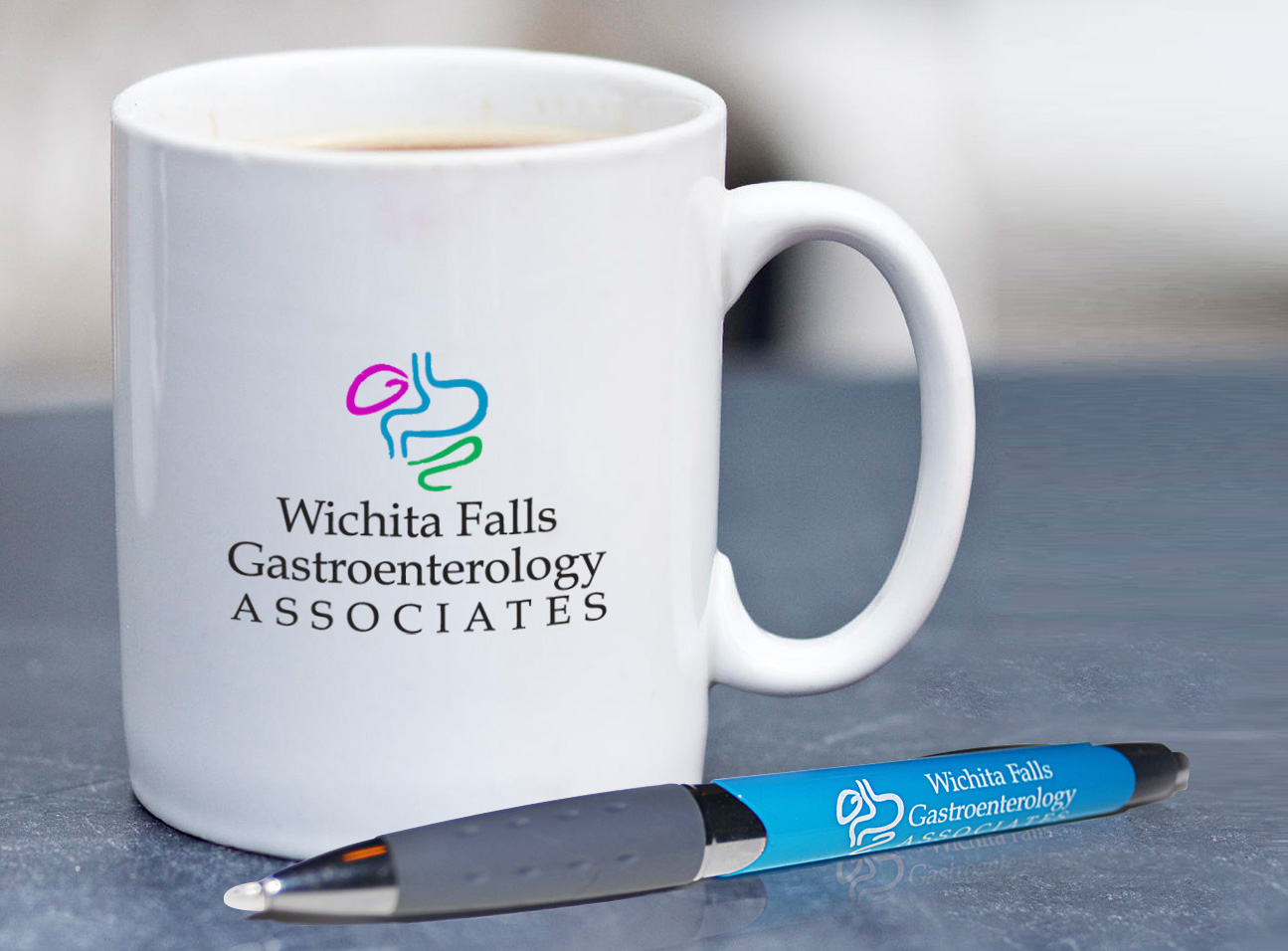 Logo on Coffee Cup and Pen Design