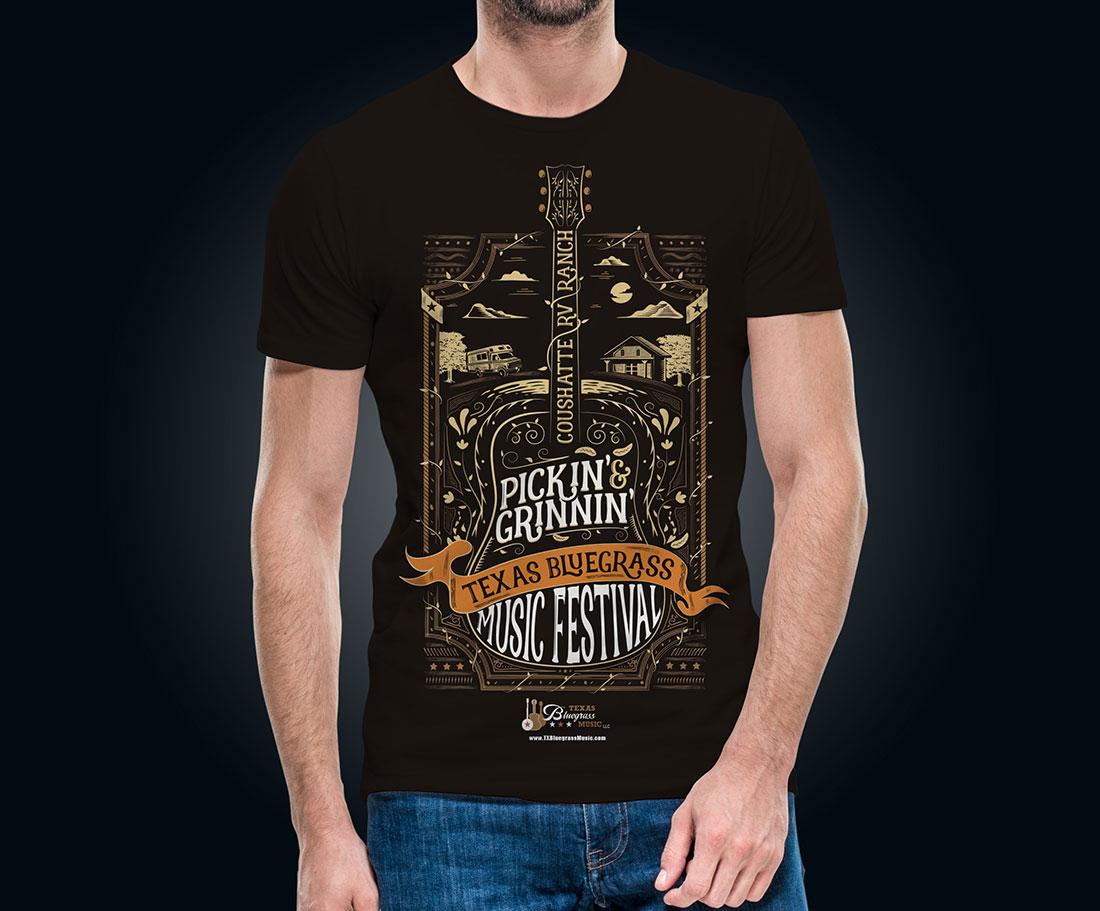 Pickin&grinnin-T-shirt-bluegrass