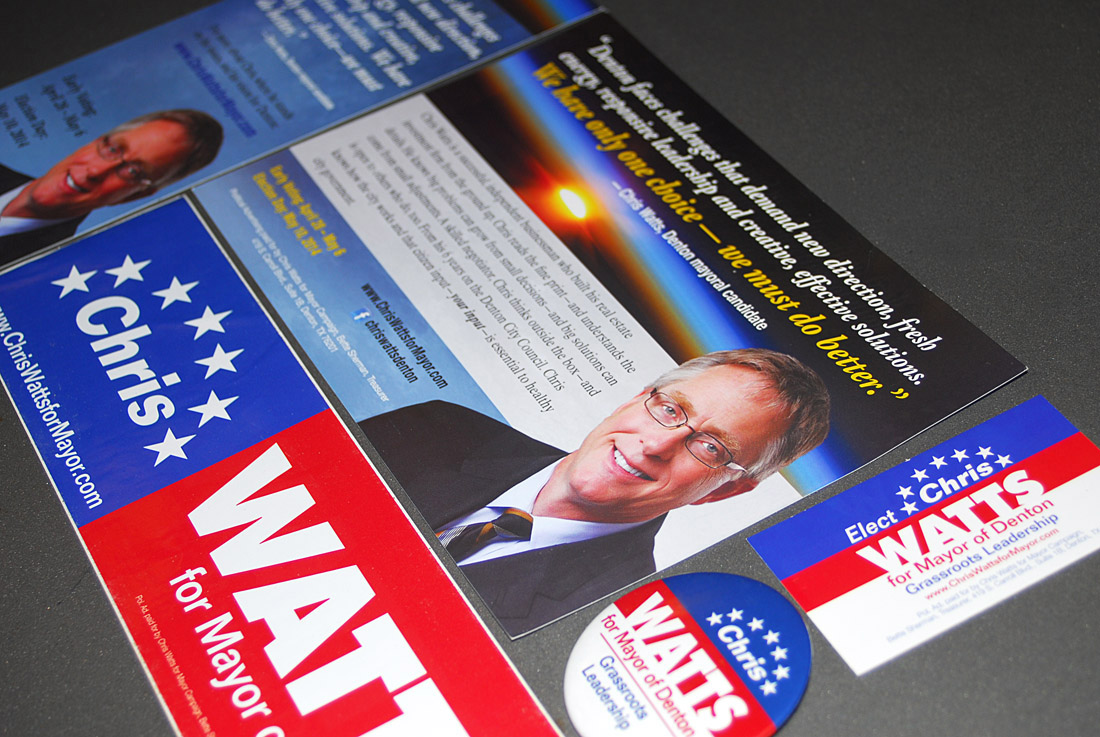 Chris Watts for mayor of Denton Campaign, Brochure, Direct mail Design