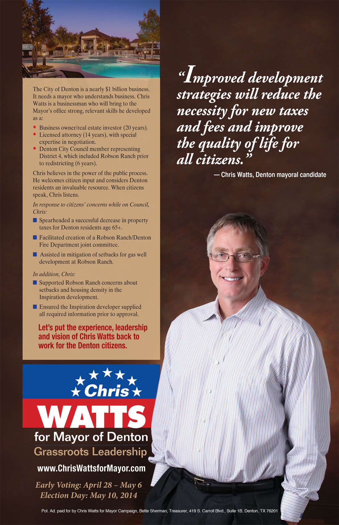 Chris Watts For Mayor of Denton, Political Campaign