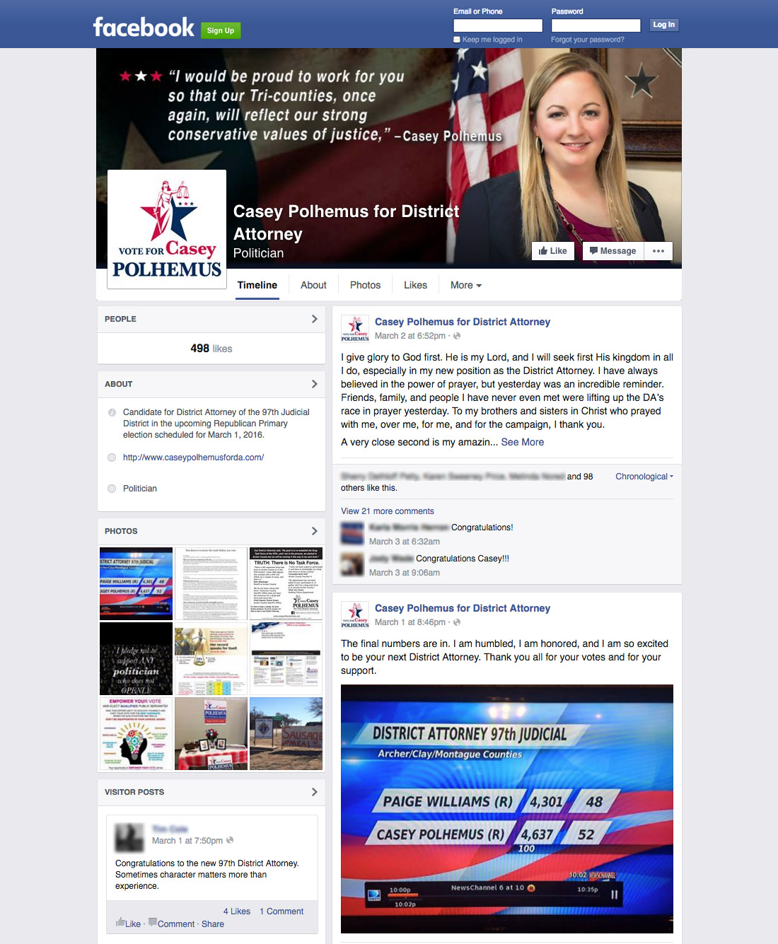District Attorney, Facebook campaign