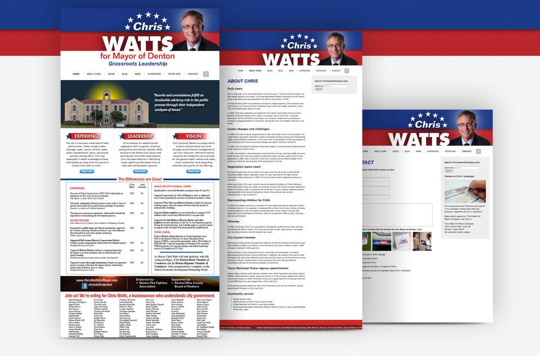 Chris Watts For Mayor of Denton, Political Campaign, Website Design