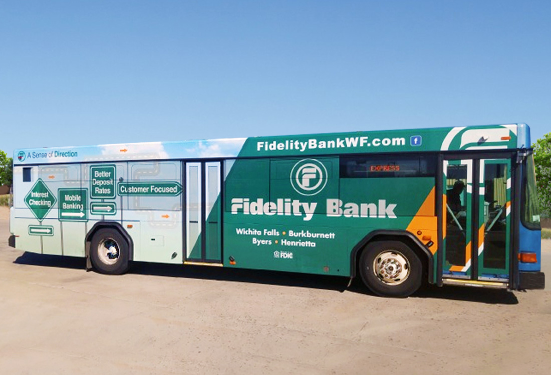 Fidelity Bank, Texas, Bus Wrap Design