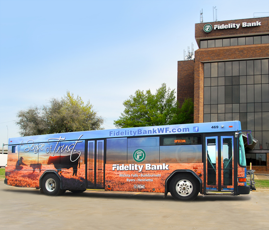 Fidelity Bank Texas Pop-Up Bus Wrap Design