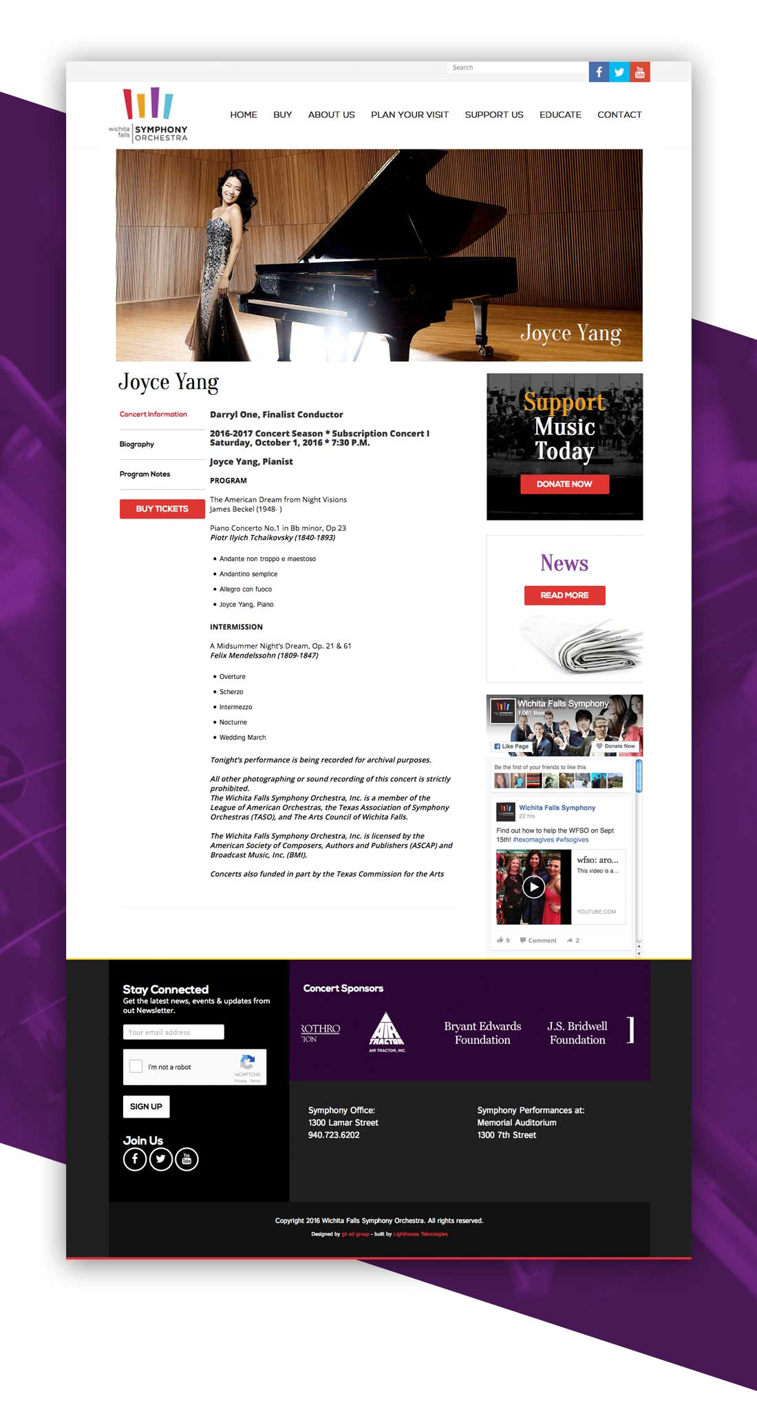 Wichita Falls Symphony Website Design
