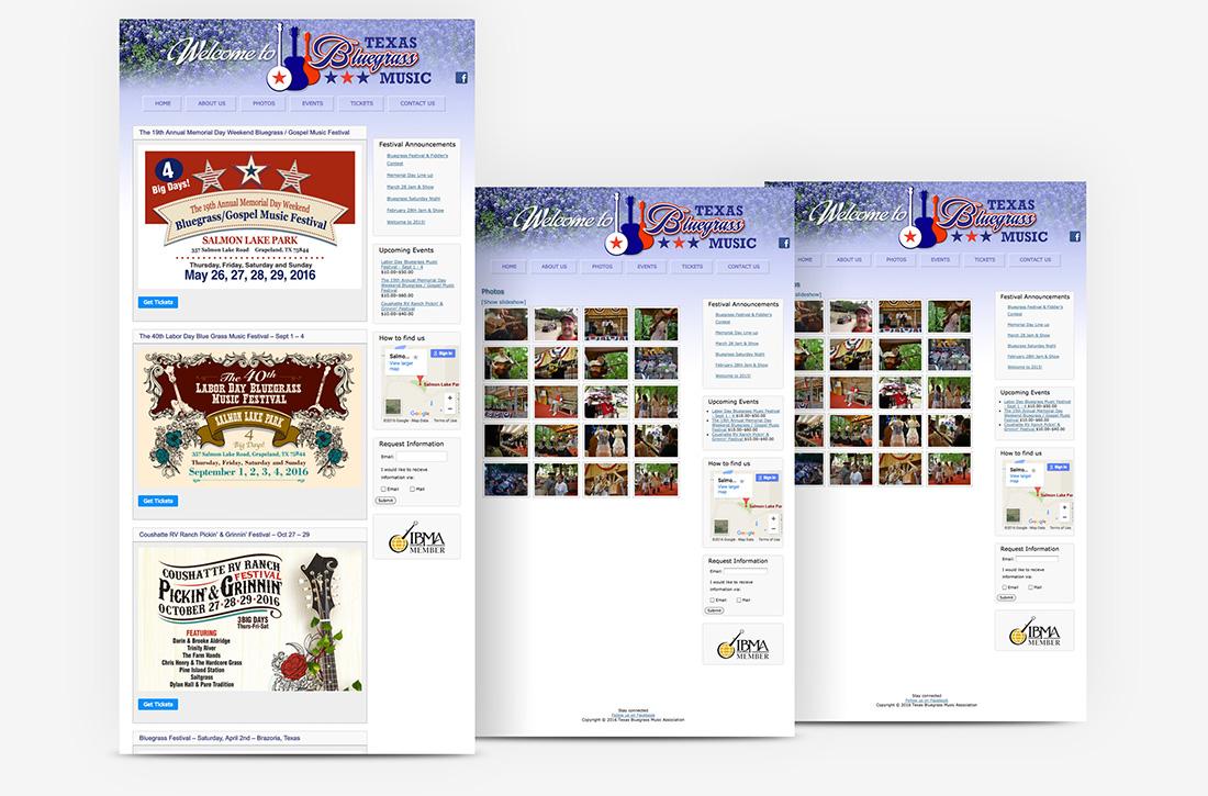 Texas Bluegrass Music festival Website Design